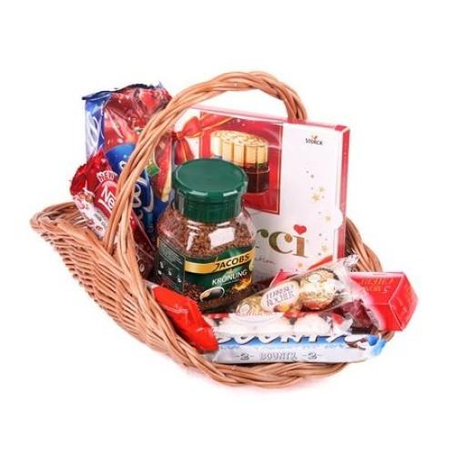Купить на заказ Заказать Кофейно-конфетная корзина с доставкой по Талдыкоргану с доставкой в Талдыкоргане