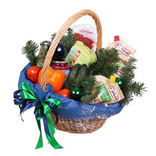 Купить на заказ Заказать Новогодняя корзина «Продуктовая» с доставкой по Талдыкоргану с доставкой в Талдыкоргане