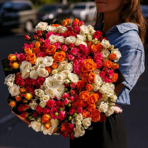 Купить на заказ Заказать Букет из 51 спрей  розы с доставкой по Талдыкоргану с доставкой в Талдыкоргане
